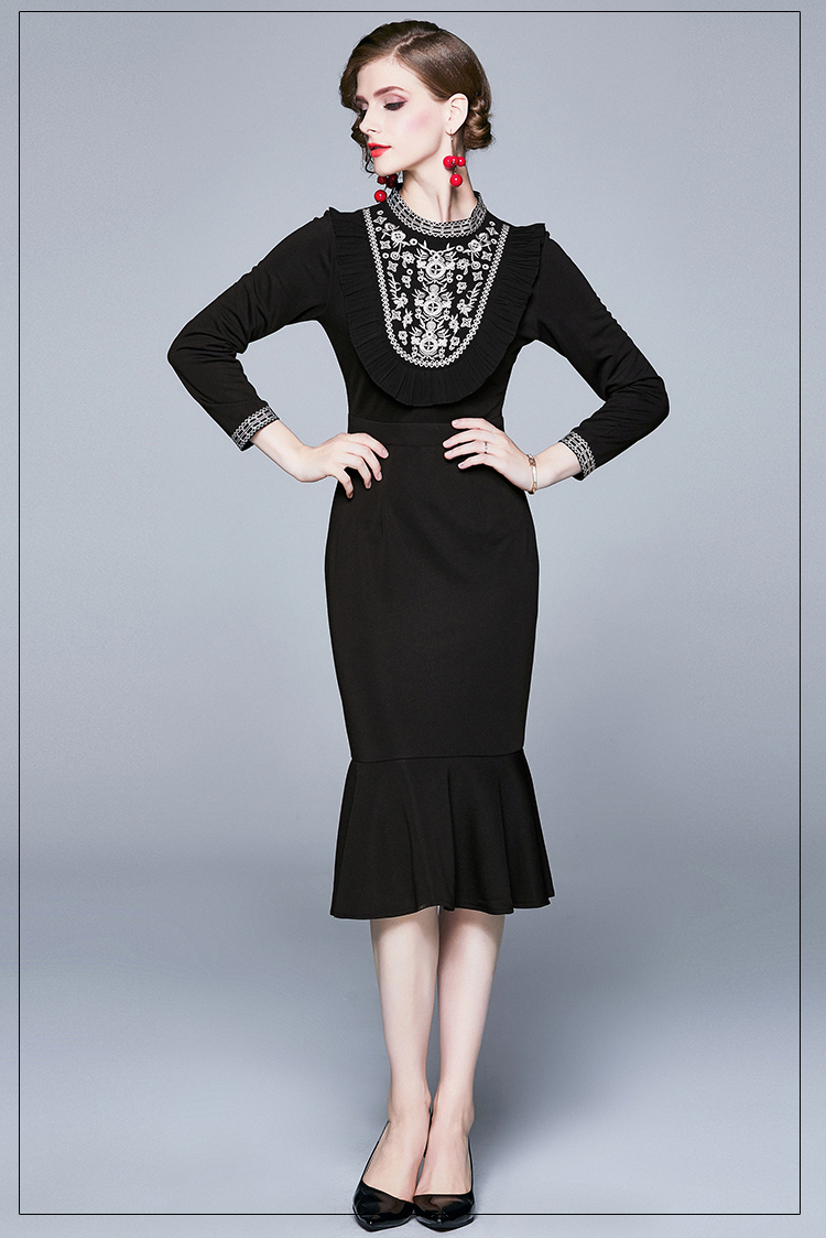 Fishtail Black Embroidery Dress.jpg