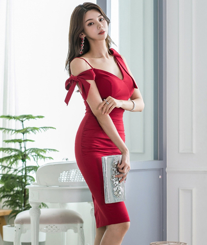 Red V-neck Sling Slim Dress.jpg