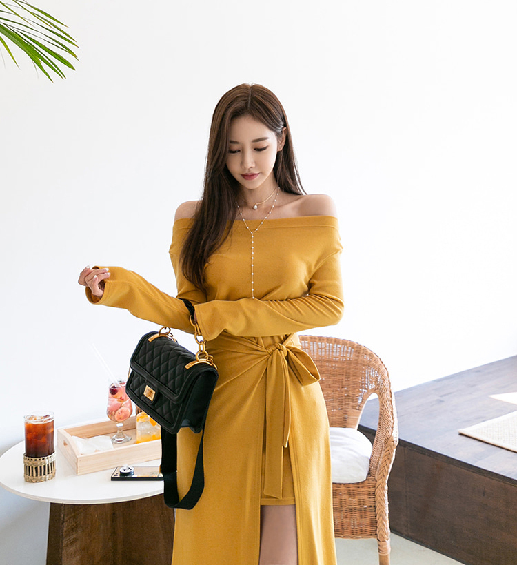 Off Shoulder Yellow Casual Dress.jpg
