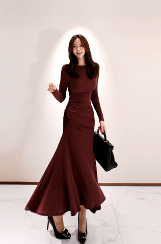 Red Wine Wrinkled Waist Slim Maxi Dress.jpg