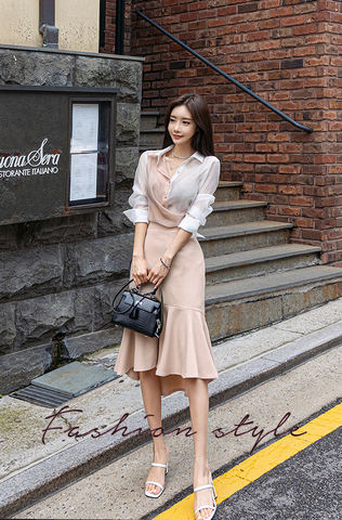 Long-sleeve Shirt + High Waist Skirt.jpg