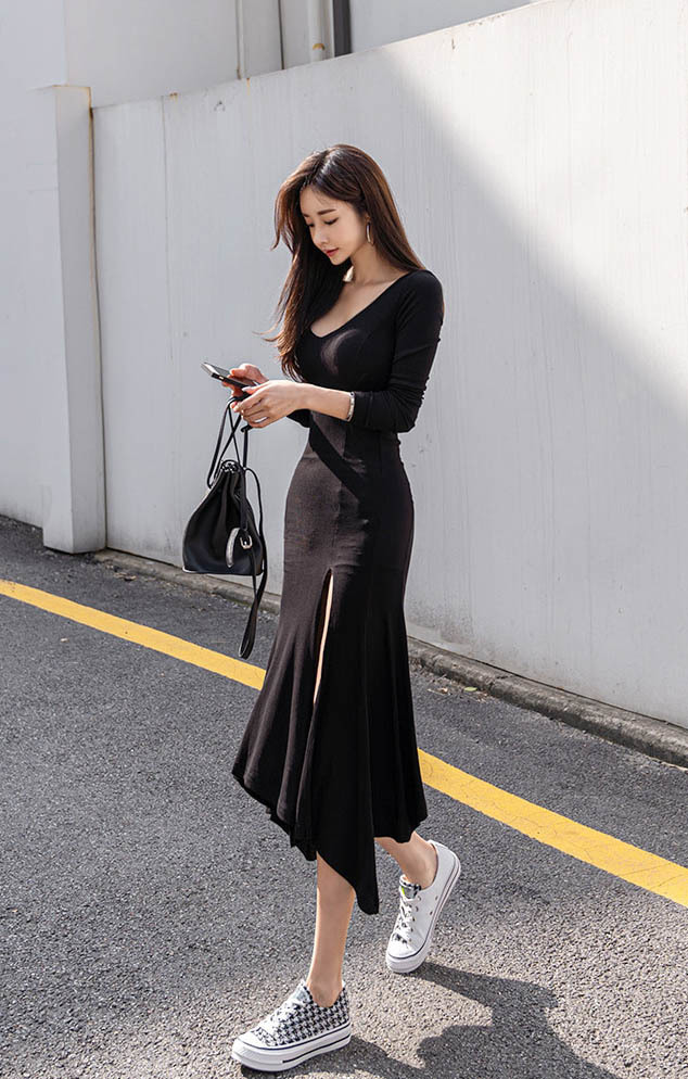 Black Casual Long Sleeve Sexy Slim Split Ruffle Dress.jpg