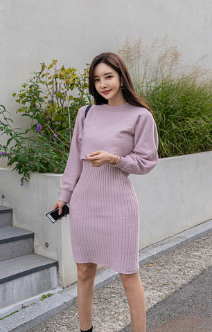Purple Knitted Two-piece Set (Top and Dress).jpg