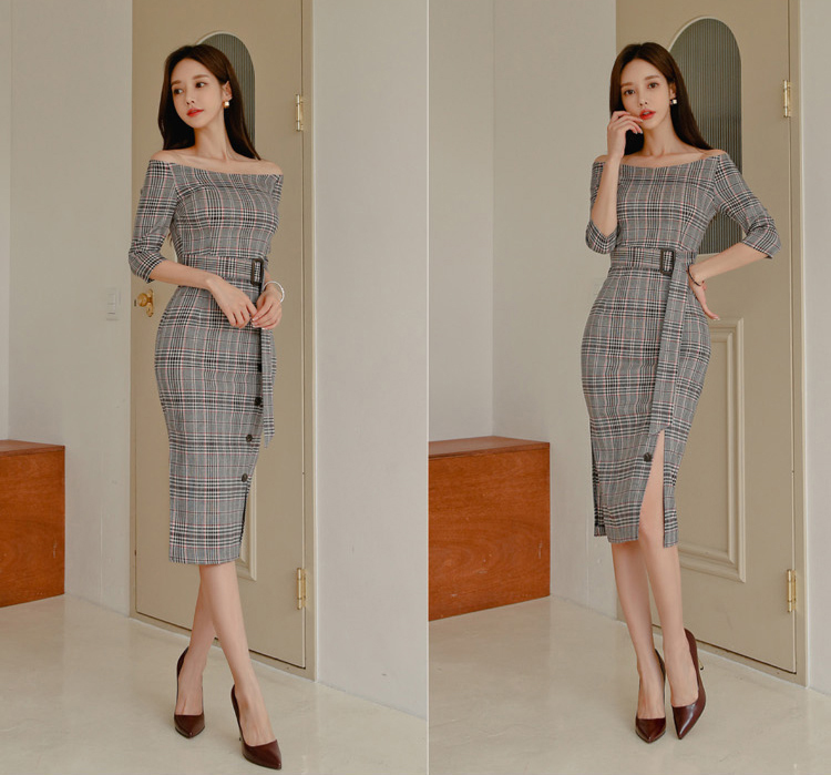 Vintage Plaid Off Shoulder Slim Dress.jpg