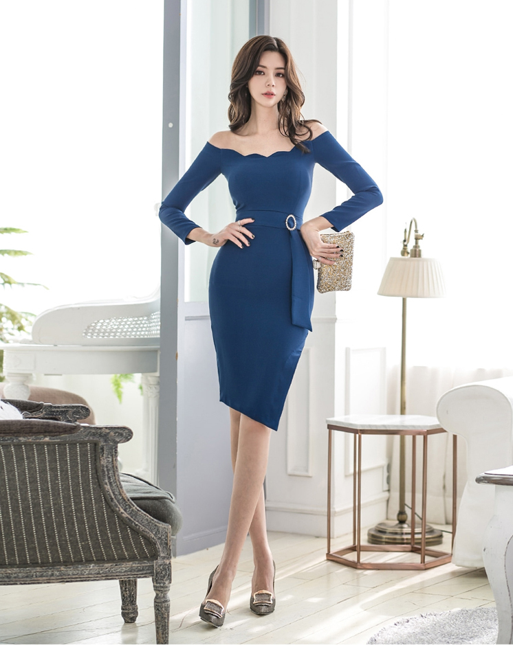Blue Slit Slim Dress.jpg