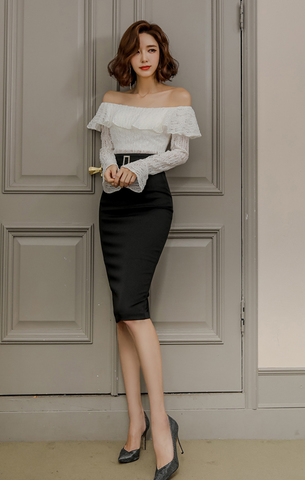 White Lace Off Shoulder Top + Black Slim Skirt.jpg