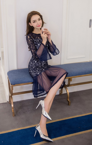 Fishtail Lace Long-sleeved Slim Dress.jpg
