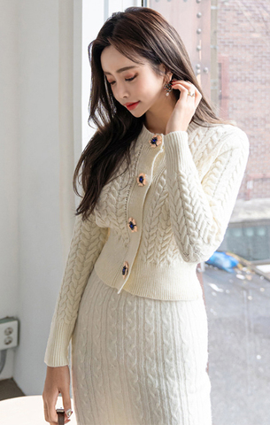 Ivory Flower Button Knitted Cardigan Woolen Shirt + High Waist Skirt.jpg
