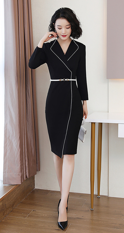 V-Neck Black Office Wear Dress (Free Belt).jpg