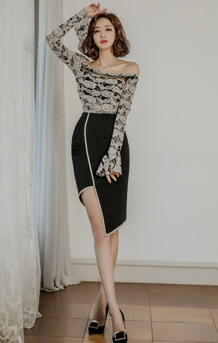 Off Shoulder Lace Top + Black Skirt.jpg