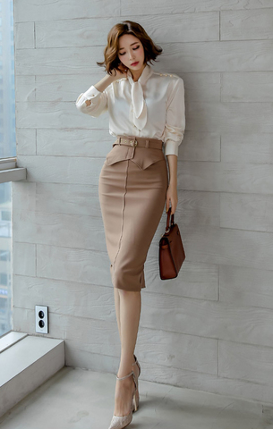 Bow Long-sleeve Blouse + Slim Skirt Set.jpg
