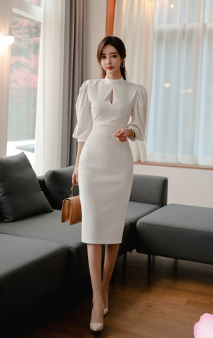 White Round Neck Lantern Sleeve Slim Dress.jpg