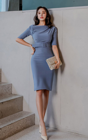 Slant Shoulder Blue Slim Dress.jpg