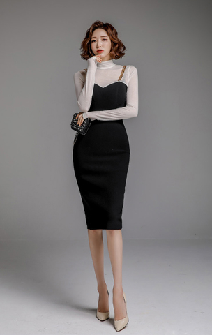 Turtleneck White And Black Slim Dress.jpg