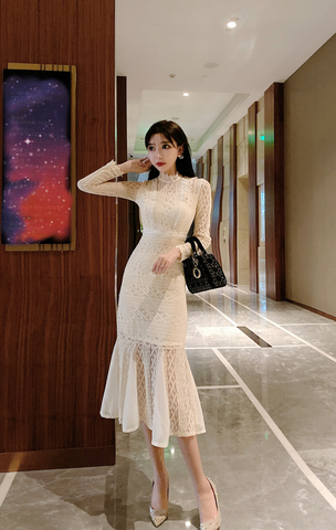 Creamy-white Fishtail Midi Lace Dress.jpg