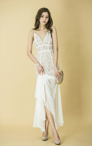 White V-Neck Sling Lace Evening Dress.jpg