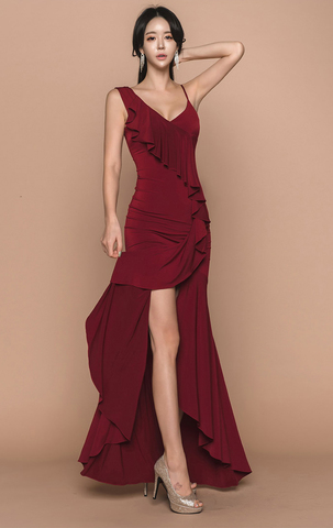 V-Neck Flounced Evening Dress.jpg