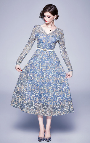 Blue Lace V-neck Flocking Midi Dress.jpg