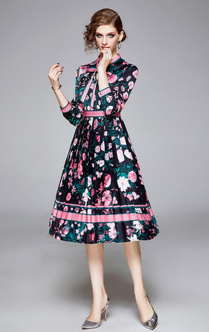 Black-green Flower A-Line Dress.jpg