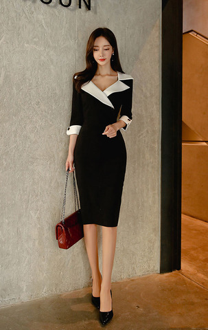 Suit Collar Black and White Slim Dress.jpg