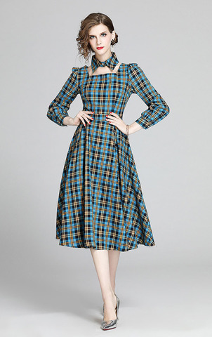 Plaid Long-sleeve A-line Slim Dress.jpg