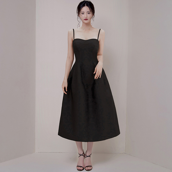 Black Spaghetti Puff Midi Dress.jpg