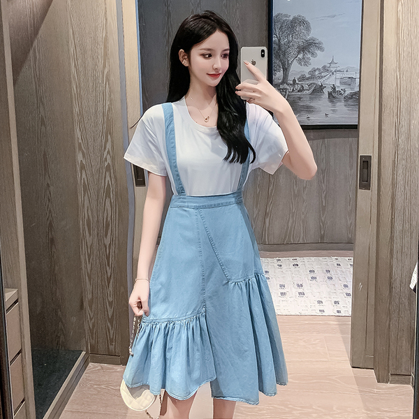 Retro High Waist Denim Sling Dress + Loose T-shirt.jpg