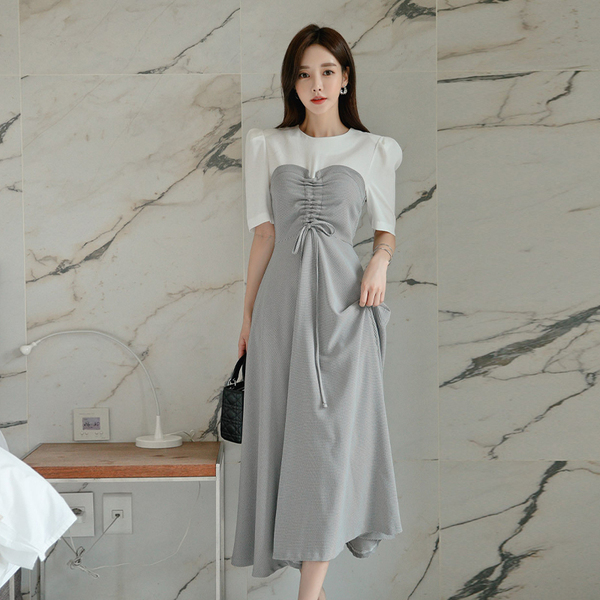 Stitching Round Neck Plaid Drawstring Waist Slim Long Dress.jpg