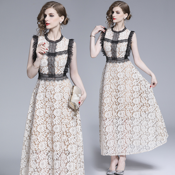 Apricot Lace Hollow Maxi Dress.jpg