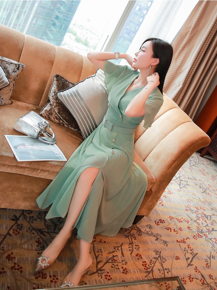 V-neck Chiffon Slit Midi Dress.png