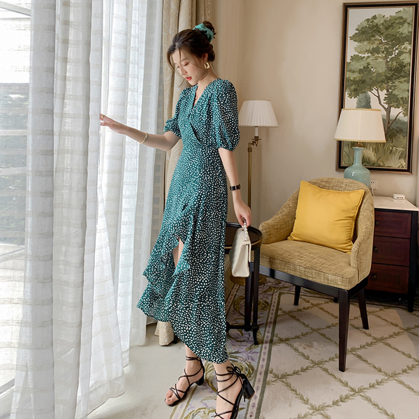 Green Daisy Flower Chiffon Irregular Dress.jpg