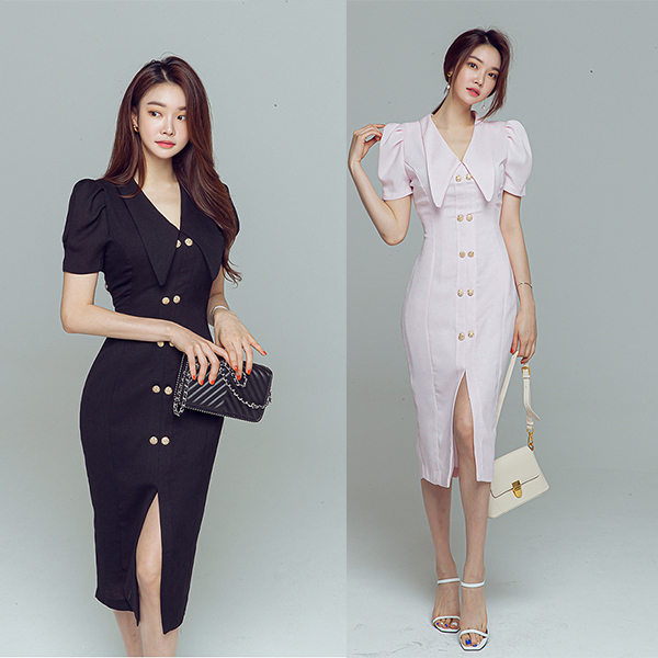 Puff Sleeve Slit V-neck Office Wear Dress.jpg