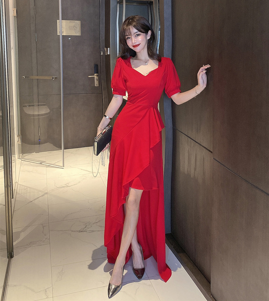 Irregular Length V-neck Evening Dress.jpg