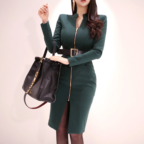 Dark Green Zipper Slim Dress (Free Belt).jpg