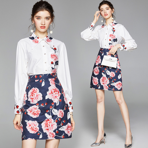 White Shirt + A-line Flowers Print Skirt Set.jpg