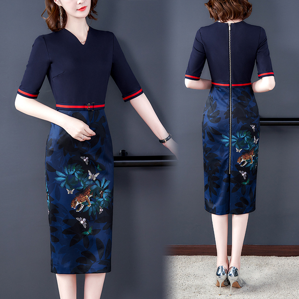 Retro Blue Flowers Print Slim Dress.jpg