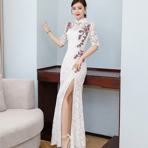 White Flowers Embroidery Lace Maxi Evening Dress.jpg