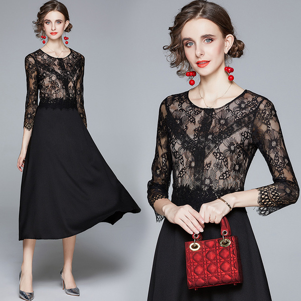 Black Lace Stitching Chiffon Midi Dress.jpg