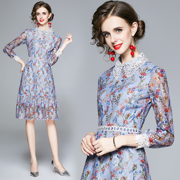Flowers Lace Doll Collar Dress.jpg