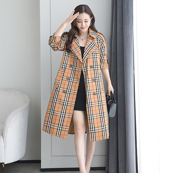 Khaki Plaid Windbreaker Mid-length Jacket.jpg