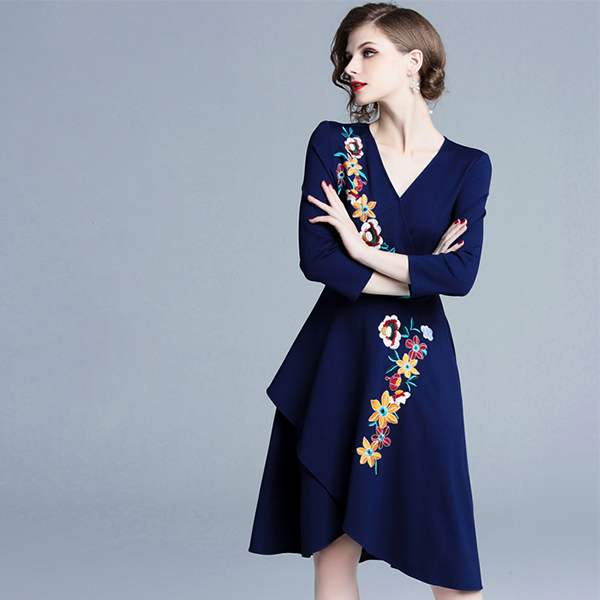 Blue Embroidered V-neck A-line Dress.jpg