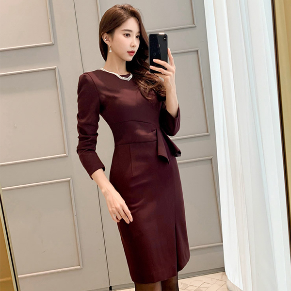 Waist Ruffled Professional Slit Slim Dress.jpg