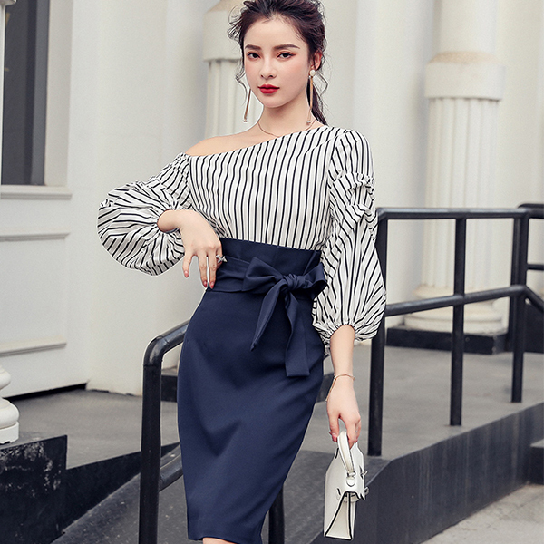 Slanted Shoulder Striped Shirt + Skirt Set.jpg