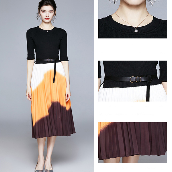 Knit Stitching Contrast Color Pleated Dress.jpg