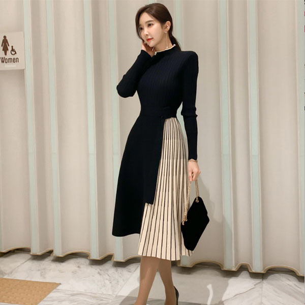 Black Woolen Pleated Knitted Dress.jpg