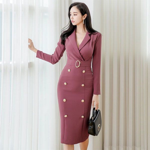 OL V-neck Slim Dress.jpg