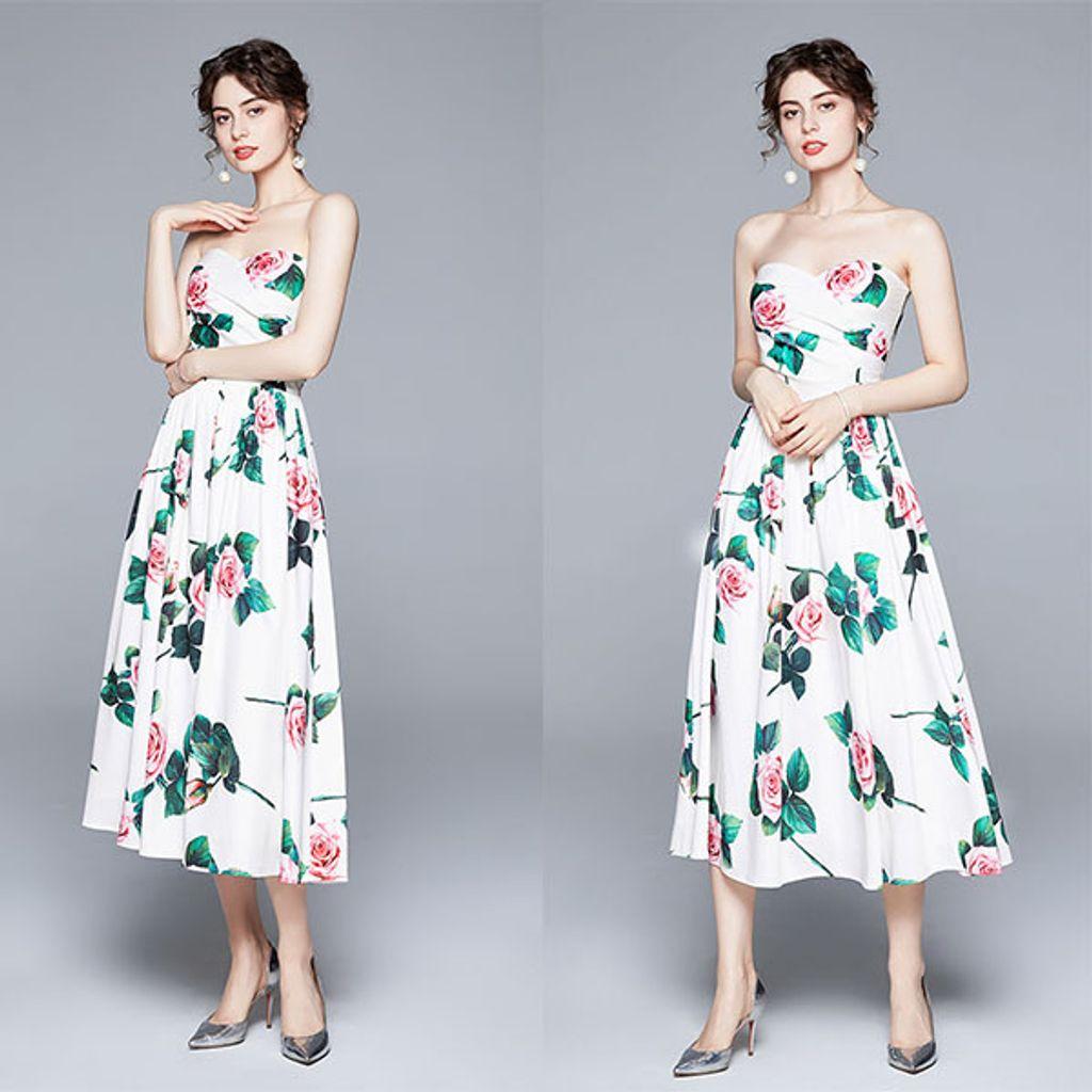 Rose Print Off Shoulder Tube Dress.jpg
