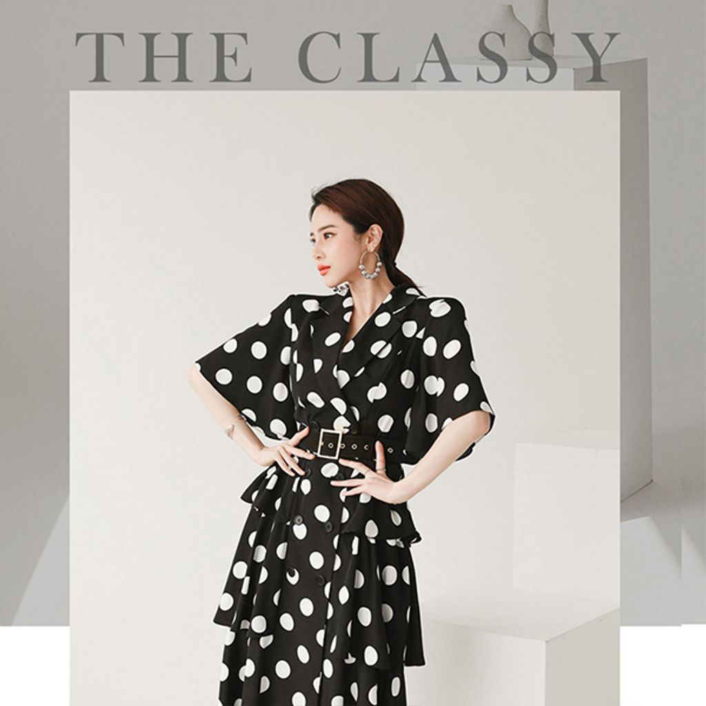 Suit Collar Double-breasted Polka Dot Layered Dress.jpg