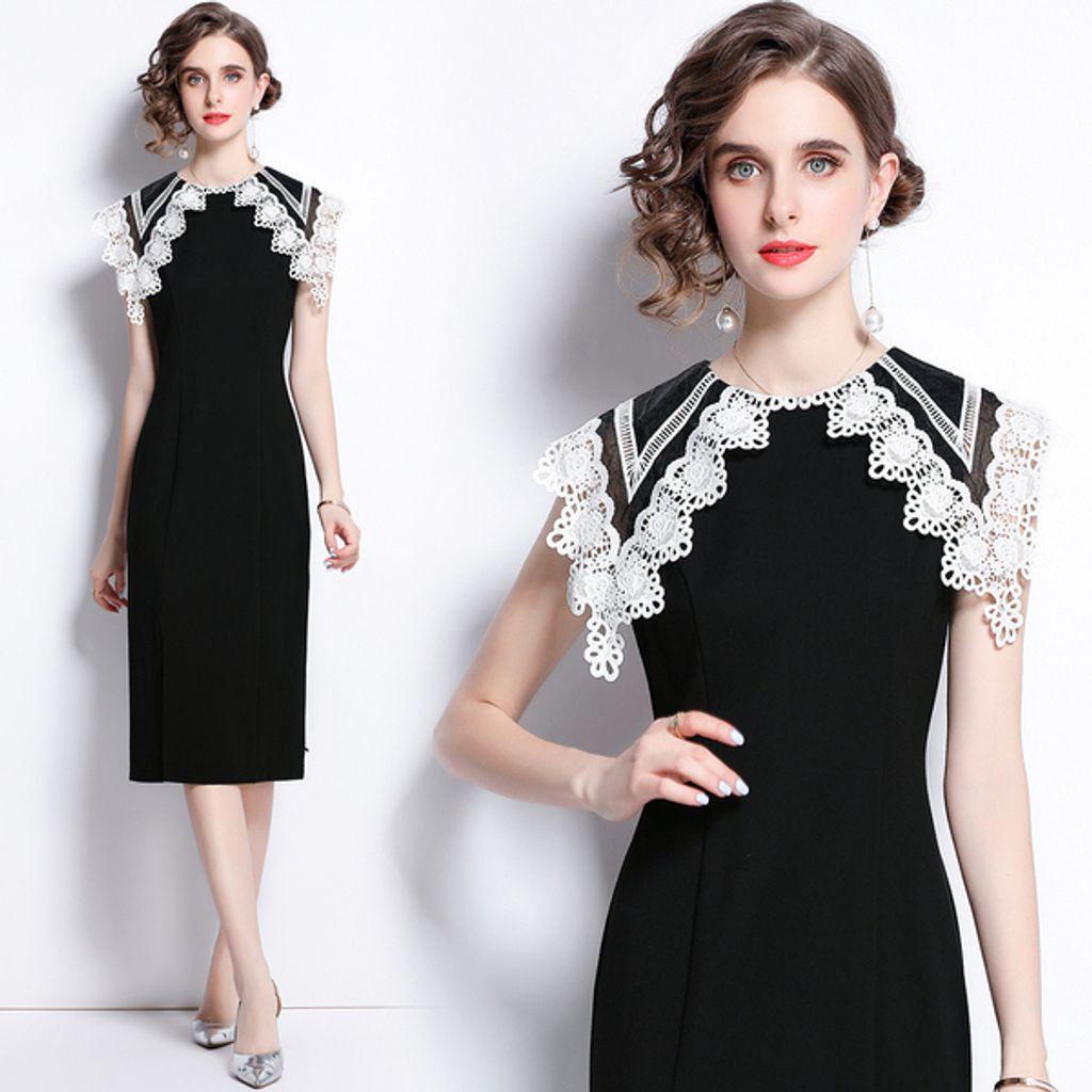 Black Mid-length Split Dress.jpg