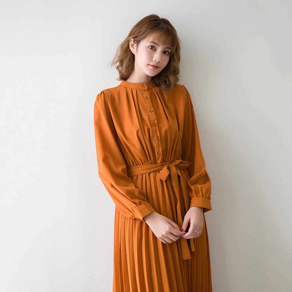 Korean Chic Pleated Midi Dress-Caramel.jpg